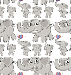 Seamless different post of elephant vector