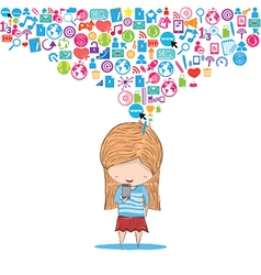 Girl teens playing with phone social network hand vector