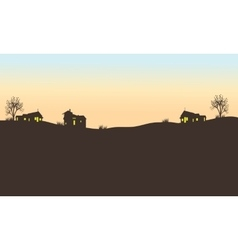 Silhouette of house in field vector