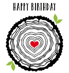 Birthday card with heart tree rings vector