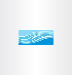Blue river wave icon vector