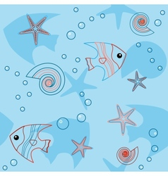 Blue seamless pattern with sea life vector image vector image