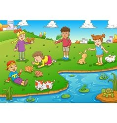 child and animal vector image