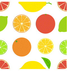 citrus seamless bright summer pattern orange lemon vector image