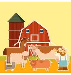 Farm banner with flat animals vector image vector image