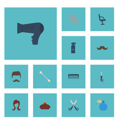 Flat icons moustache deodorant comb and other vector