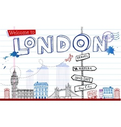 Greeting card from London in style doodles vector image vector image