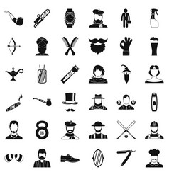 Hipster beard icons set simple style vector