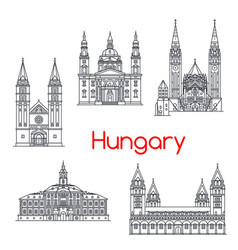 hungary famous architecture landmark icons vector image