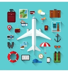 Icons set of traveling on airplane travel objects vector