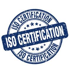 Iso certification blue grunge stamp vector