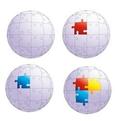 puzzle globe vector image vector image