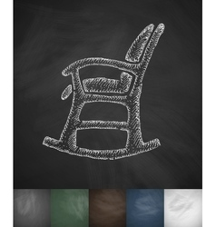 Rocking chair icon hand drawn vector