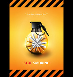 stop smoking advertisement tobacco grenade vector image vector image