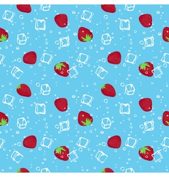 Strawberry and ice cubes blue seamless pattern vector