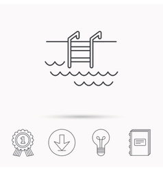 Swimming pool icon Waves and stairs sign vector image