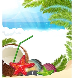 Tropical background with palm trees and coconut vector