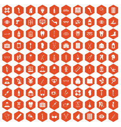 100 pharmacy icons hexagon orange vector