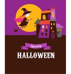 Halloween greeting card with ghosts haunted house vector