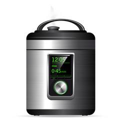 Modern metal multicooker pressure cooker for vector