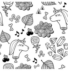 Seamless pattern with dead unicorn for coloring vector