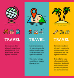 travel related banners with color outline icons vector image