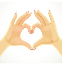 Heart folded of beautiful female hands isolated on vector