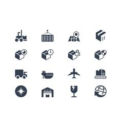 Logistic and shipping icons lyra series vector