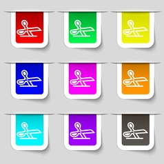 Scissors icon sign set of multicolored modern vector