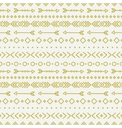 Hand drawn gold geometric ethnic seamless pattern vector