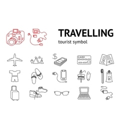 Travel icons set Tourism journey vacation vector image