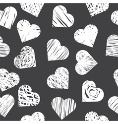 Seamless pattern with white hearts on black vector