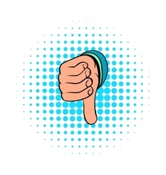 Thumb down gesture icon comics style vector