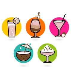 Retro drink icons vector