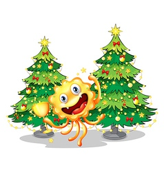 A monster near the christmas trees holding a vector image vector image