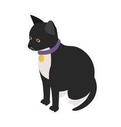 Black cat with collar icon isometric 3d style vector