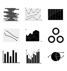 Black white charts set vector