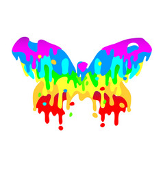 Butterfly icon from the flowed paint multicolor vector