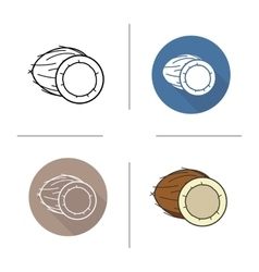 Coconut flat design linear and color icons set vector image vector image