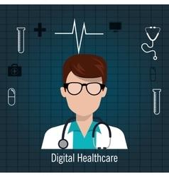 Doctor stethoscope icon digital healthcare vector