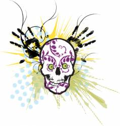 embroidery skull design vector image vector image