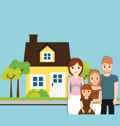 Family home with tree garden image vector