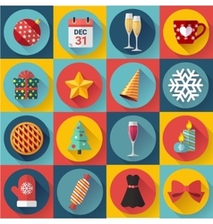 Flat color christmas icons for web and vector image vector image