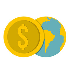 Globe and dollar coin icon isolated vector