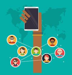Hand holds mobile group social media global vector