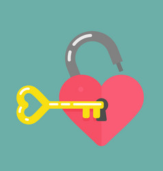 lock and key shaped heart icon vector image