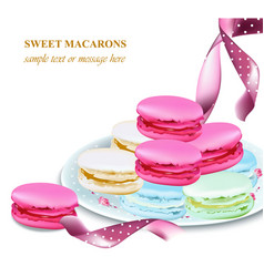 Macaroons on a plate colorful dessert vector