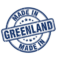 Made in greenland blue grunge round stamp vector