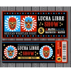 Mexican wrestler set lucha libre vector