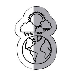 Monochrome sticker contour of cloud with rain and vector